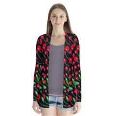 Red Christmas Berries Drape Collar Cardigan