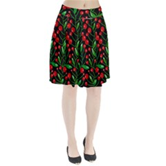 Red Christmas berries Pleated Skirt