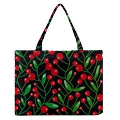 Red Christmas berries Medium Zipper Tote Bag