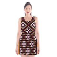 Toraja Pattern Pa re po  Sanguba ( Dancing Alone ) Scoop Neck Skater Dress