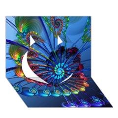 Top Peacock Feathers Heart 3D Greeting Card (7x5)