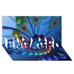 Top Peacock Feathers ENGAGED 3D Greeting Card (8x4)