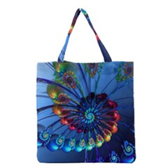 Top Peacock Feathers Grocery Tote Bag