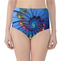 Top Peacock Feathers High-Waist Bikini Bottoms