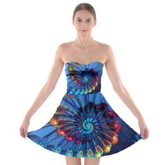 Top Peacock Feathers Strapless Bra Top Dress