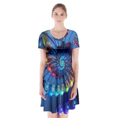 Top Peacock Feathers Short Sleeve V-neck Flare Dress