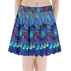 Top Peacock Feathers Pleated Mini Skirt