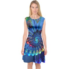 Top Peacock Feathers Capsleeve Midi Dress