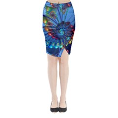 Top Peacock Feathers Midi Wrap Pencil Skirt