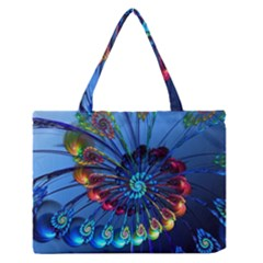 Top Peacock Feathers Medium Zipper Tote Bag