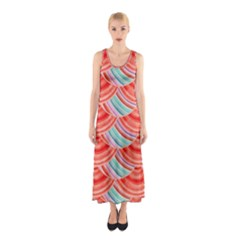 Element Of The Flower Of Life   Pattern Sleeveless Maxi Dress