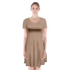 Tooling Patterns Short Sleeve V-neck Flare Dress