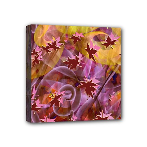 Falling Autumn Leaves Mini Canvas 4  X 4