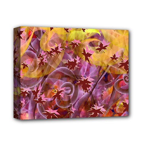 Falling Autumn Leaves Deluxe Canvas 14  X 11