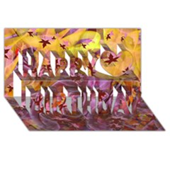 Falling Autumn Leaves Happy Birthday 3d Greeting Card (8x4)