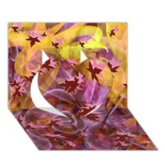 Falling Autumn Leaves Heart 3d Greeting Card (7x5)