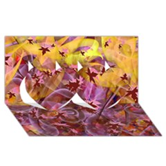 Falling Autumn Leaves Twin Hearts 3d Greeting Card (8x4)