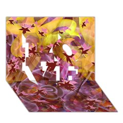 Falling Autumn Leaves Love 3d Greeting Card (7x5)