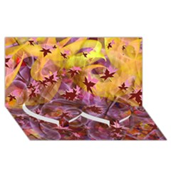 Falling Autumn Leaves Twin Heart Bottom 3d Greeting Card (8x4)