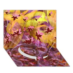 Falling Autumn Leaves Circle Bottom 3d Greeting Card (7x5)