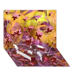 Falling Autumn Leaves Love Bottom 3d Greeting Card (7x5)