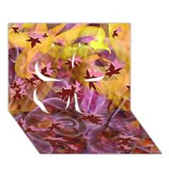 Falling Autumn Leaves Clover 3d Greeting Card (7x5)