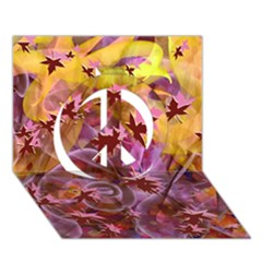 Falling Autumn Leaves Peace Sign 3d Greeting Card (7x5)