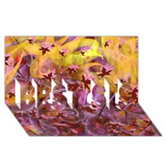 Falling Autumn Leaves Best Sis 3d Greeting Card (8x4)