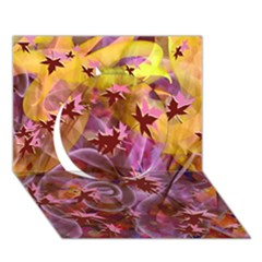 Falling Autumn Leaves Circle 3d Greeting Card (7x5)