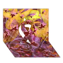 Falling Autumn Leaves Ribbon 3d Greeting Card (7x5)