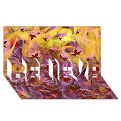 Falling Autumn Leaves Believe 3d Greeting Card (8x4)
