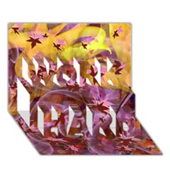 Falling Autumn Leaves Work Hard 3d Greeting Card (7x5)