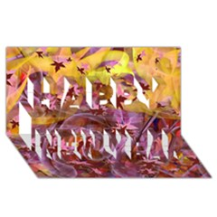 Falling Autumn Leaves Happy New Year 3d Greeting Card (8x4)