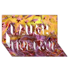 Falling Autumn Leaves Laugh Live Love 3d Greeting Card (8x4)