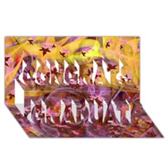 Falling Autumn Leaves Congrats Graduate 3d Greeting Card (8x4)