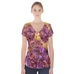 Falling Autumn Leaves Short Sleeve Front Detail Top