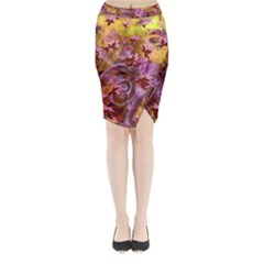 Falling Autumn Leaves Midi Wrap Pencil Skirt