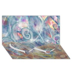 Spirals Twin Heart Bottom 3d Greeting Card (8x4)