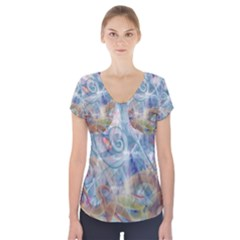 Spirals Short Sleeve Front Detail Top