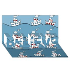 Boats BELIEVE 3D Greeting Card (8x4)