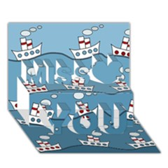 Boats Miss You 3D Greeting Card (7x5)