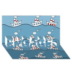 Boats ENGAGED 3D Greeting Card (8x4)