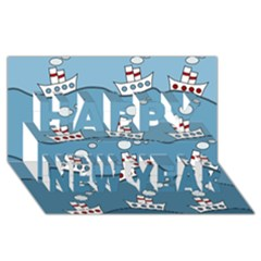 Boats Happy New Year 3D Greeting Card (8x4)
