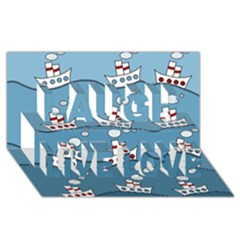 Boats Laugh Live Love 3D Greeting Card (8x4)