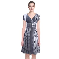 Tire Short Sleeve Front Wrap Dress