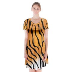Tiger Skin Pattern Short Sleeve V-neck Flare Dress