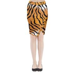 Tiger Skin Pattern Midi Wrap Pencil Skirt