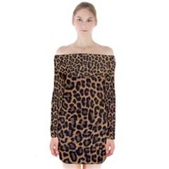 Tiger Skin Art Pattern Long Sleeve Off Shoulder Dress