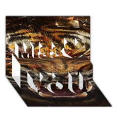 Tiger Face Miss You 3D Greeting Card (7x5)