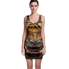 Tiger Face Sleeveless Bodycon Dress